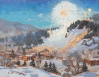Ski Town Celebration 11x14in (sold)
